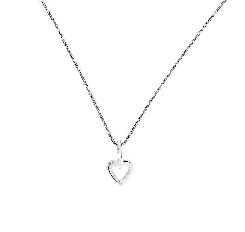 Sterling silver open heart polished pendant