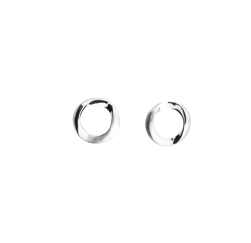 Silver folded circle stud earrings