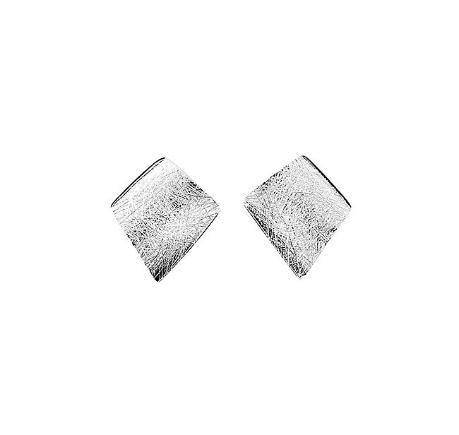 Sterling silver brushed diamond stud earring