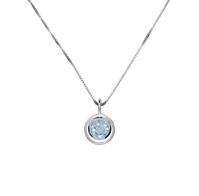 Blue topaz circle in circle pendant