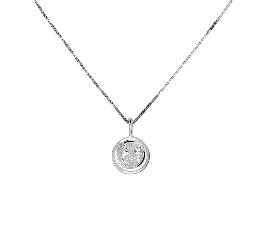 White  topaz circle in circle pendant