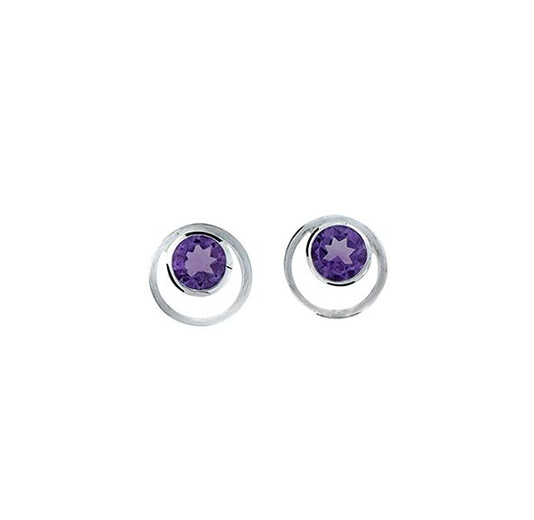 Amethyst circle in circle earrings