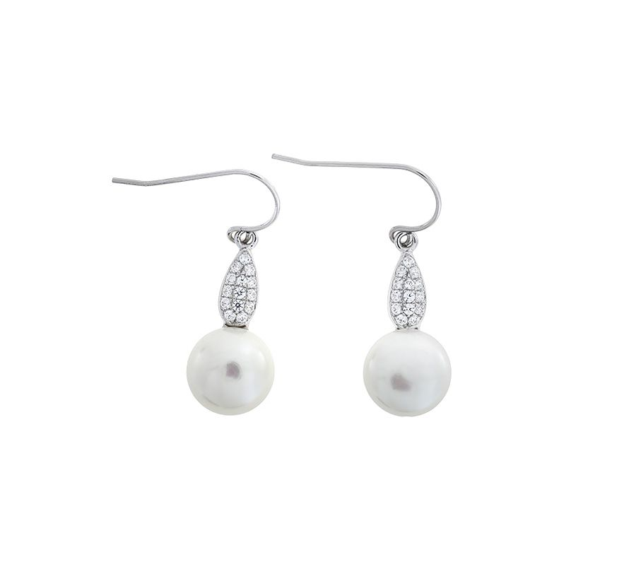 Pearl with pave drop earrings