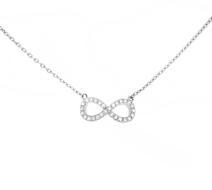 Sterling silver micropavé infinty necklace