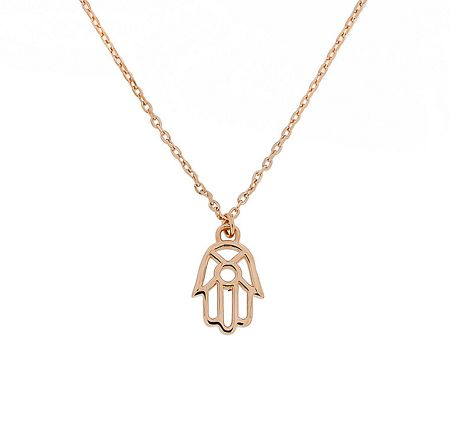 Azendi Sterling silver rose vermeilhamsa hand pendant