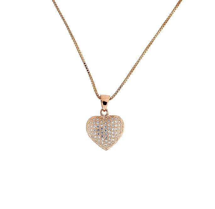 Rose gold vermeil pave heart