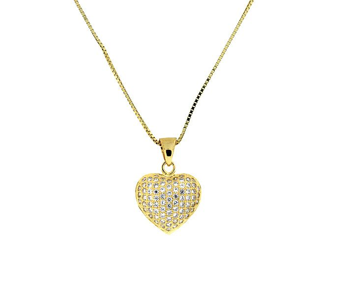 Yellow gold vermeil pave heart