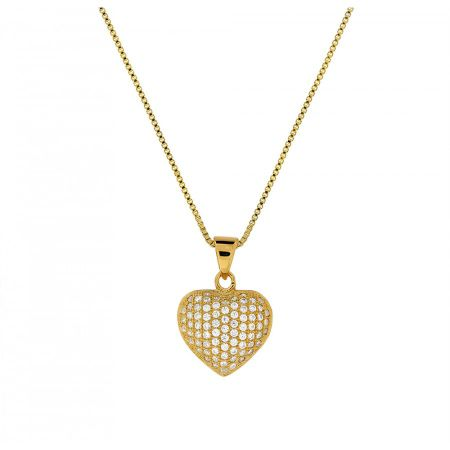 Azendi Yellow gold vermeil pave heart