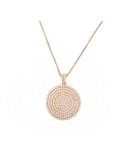 Rose vermeil pavé large circle pendant