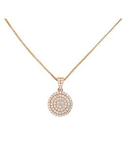 18ct rose gold vermeil pavé circle pendant