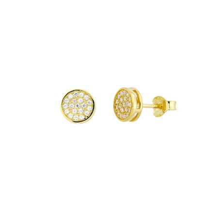 Azendi 18ct gold vermeil pavé stud earrings