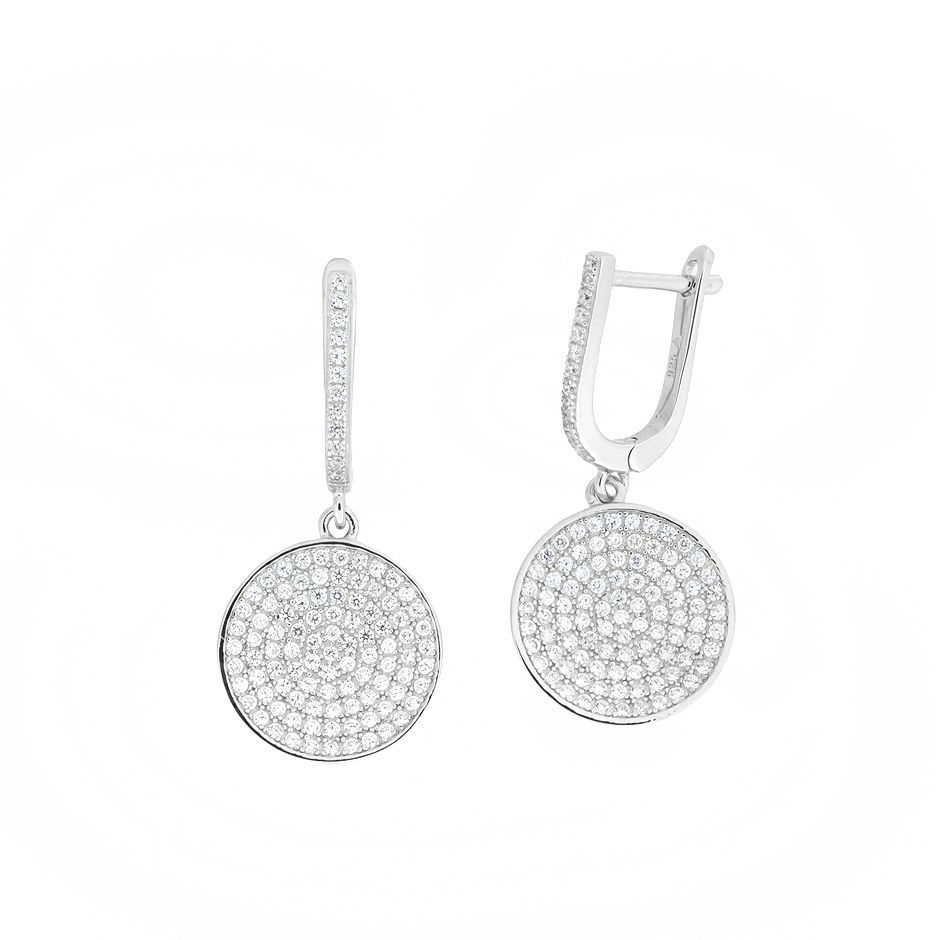 Silver pavé disc drop earrings
