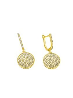 Gold Vermeil Pavé Disc Drop Earrings