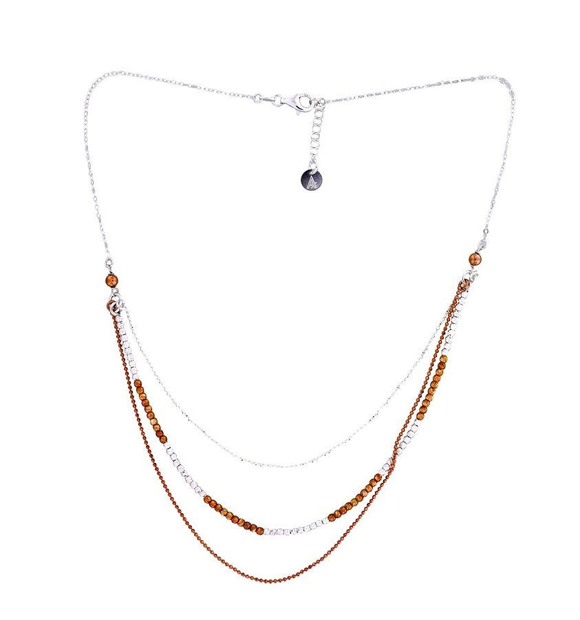 Silver chains necklace with rose gold vermeil