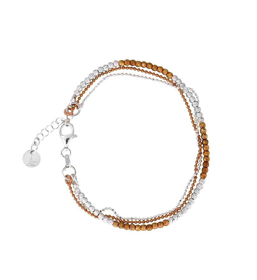 Silver chains bracelet with rose gold vermeil