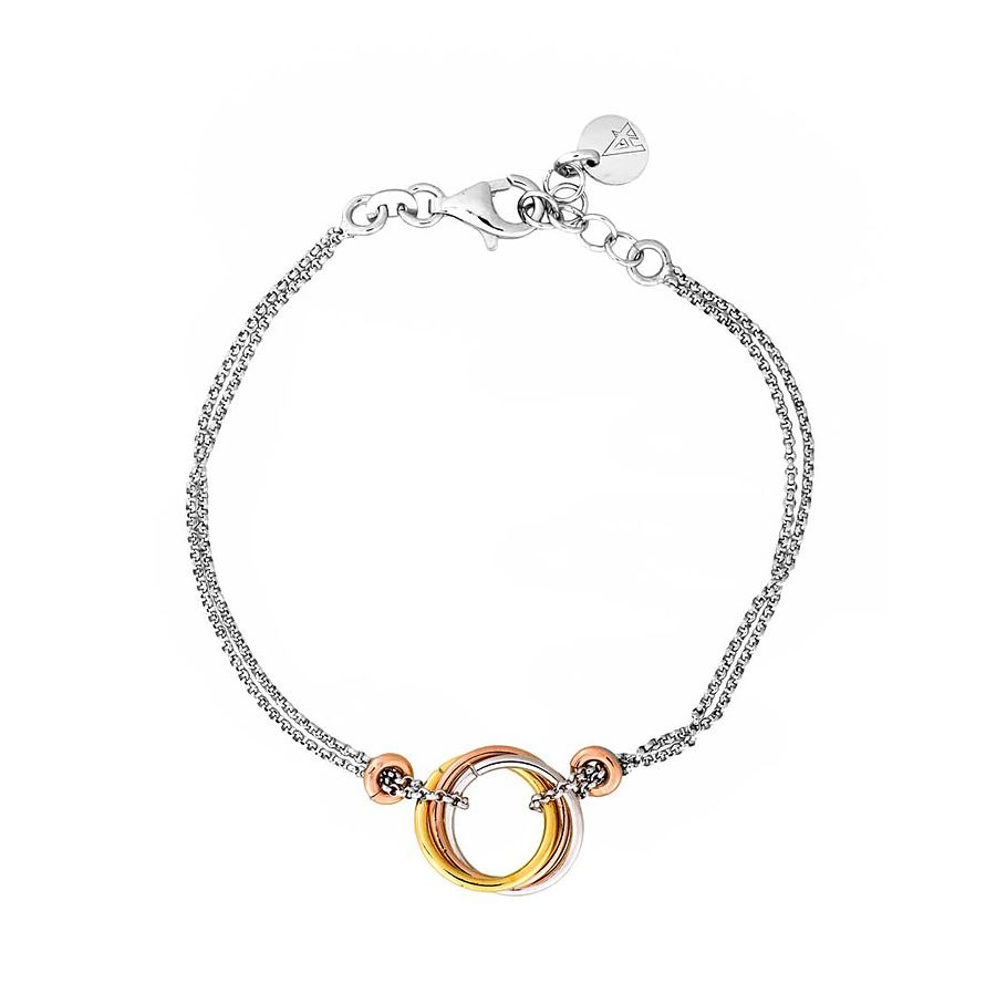 Sterling silver 3 colour love-knot  bracelet