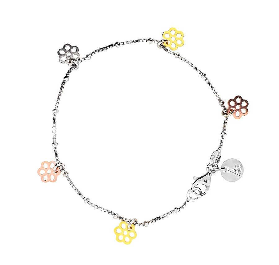 Sterling silver 3 colour vermeil flower bracelet