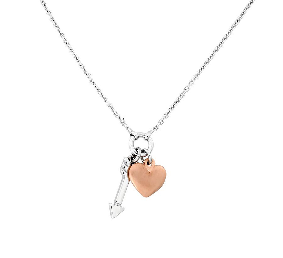 Sterling silver rose vermeil heart arrow necklace