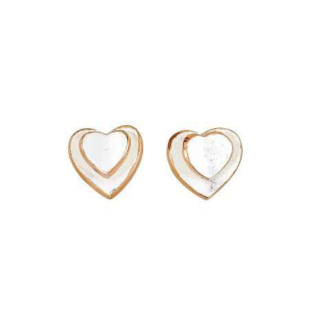 Azendi Silver two hearts stud earrings