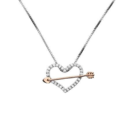 Azendi Cupid`s arrow and heart pendant