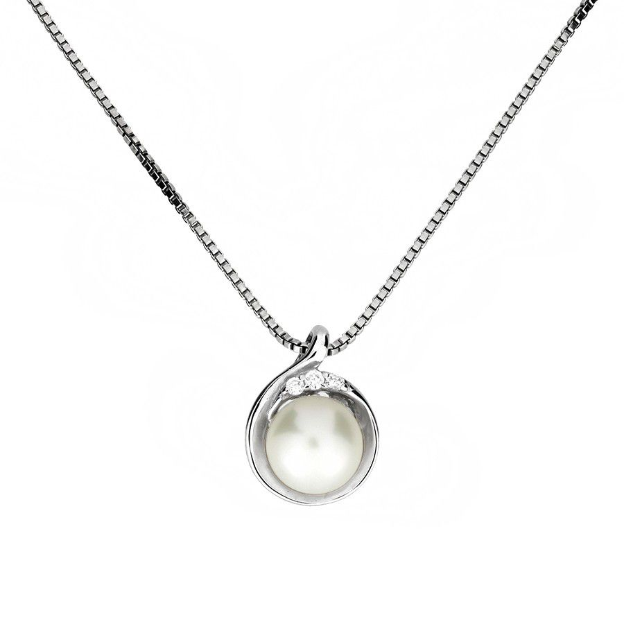 azendi silver and pearl teardrop pendant