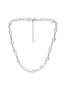 Silver & pearl spirals necklace