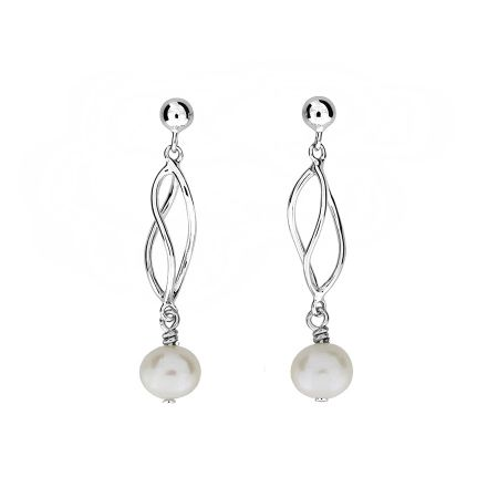 Azendi Silver & pearl spirals earrings