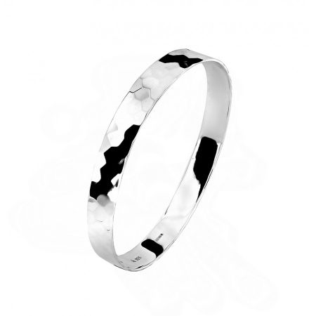 Azendi Sterling silver bangle with hammered texture