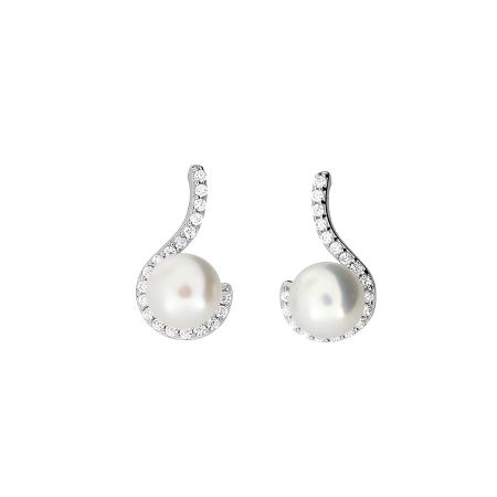 Azendi Pearl pavé curl earrings