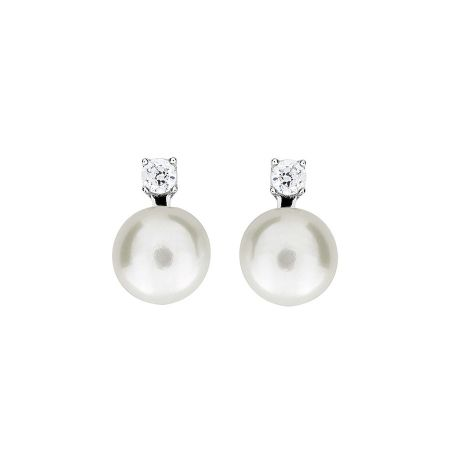 Azendi Pearl & Cubic Zirconia Stud Earrings