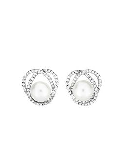 Pavé curling pearl earrings