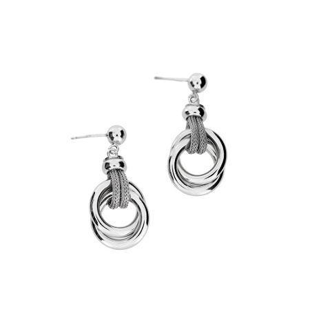 Azendi Silver Double Circle Earrings