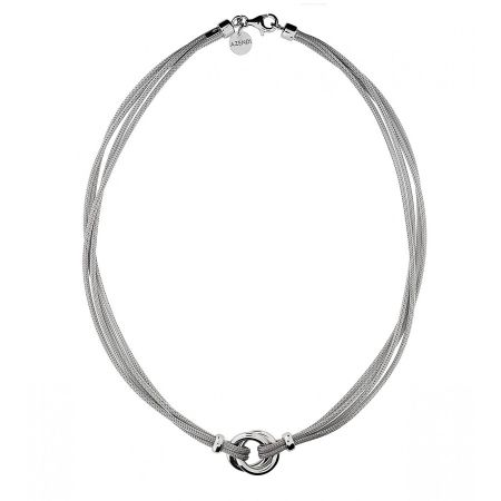 Azendi Silver Double Circle Necklace