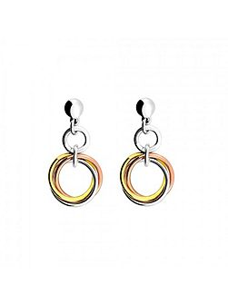 Three colour love knot drop earring