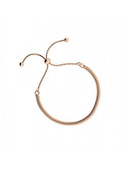 Rose vermeil adjustable flat bracelet