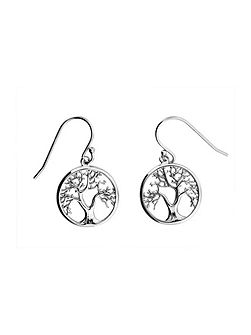 Silver tree of life drop earrings