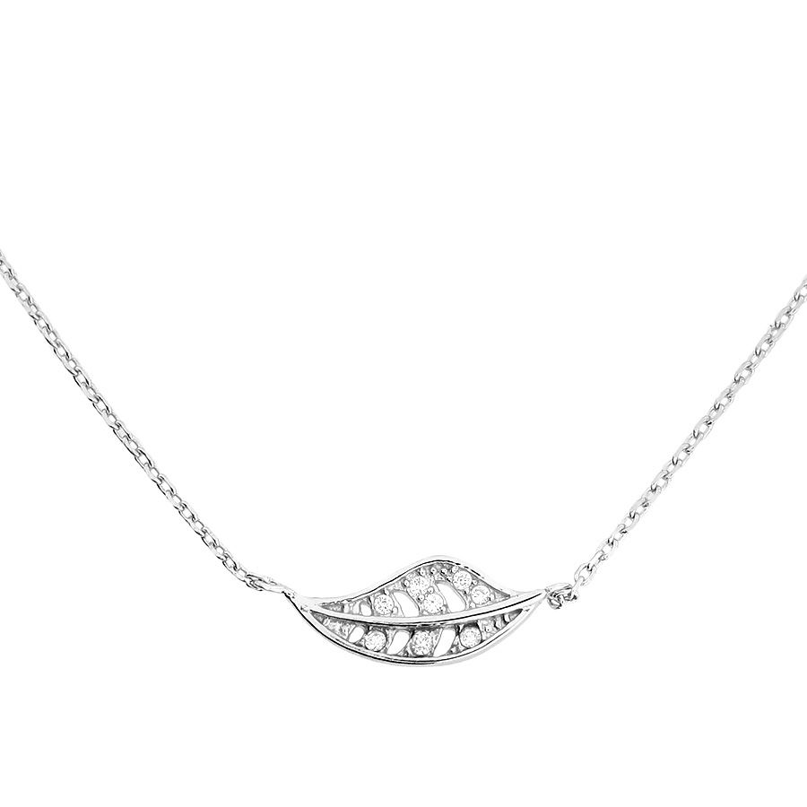 azendi sterling silver leaf necklace with cubic zirconia