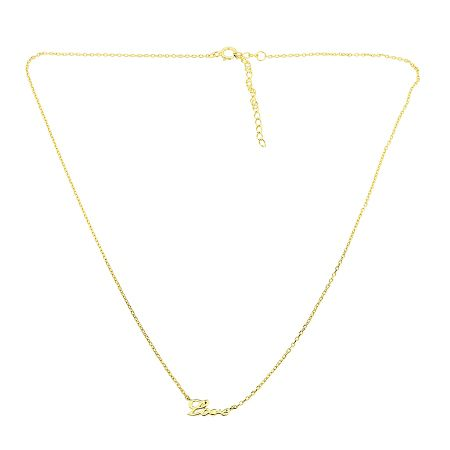Azendi Sterling silver and gold `love` script necklace