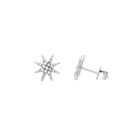 Azendi Sterling silver north star stud earrings