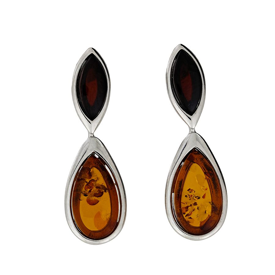 azendi silver two colour amber earrings