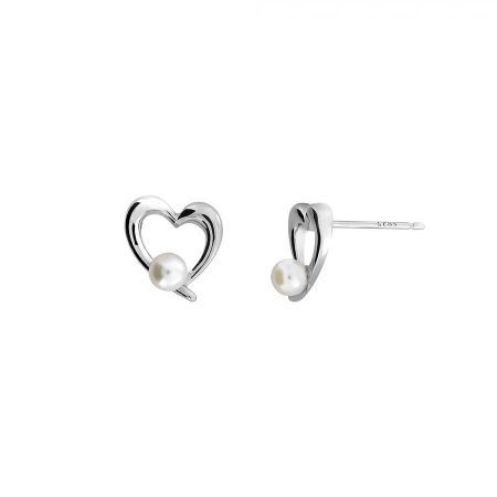 Azendi Silver & Pearl Heart Earrings