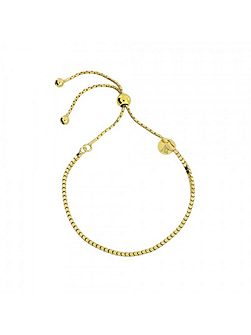 Gold vermeil box chain adjust bracelet
