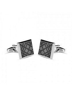 Black enamel crosshatch cufflinks