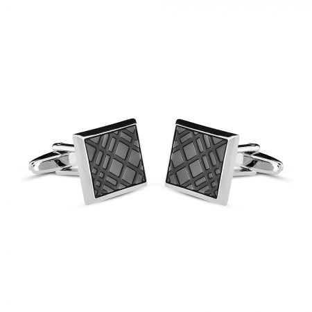 Azendi Black enamel crosshatch cufflinks