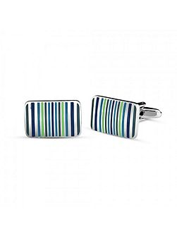 Enamel blue striped cufflink