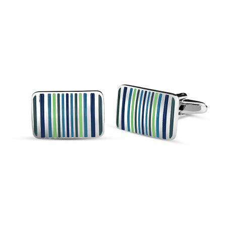 Azendi Enamel blue striped cufflink