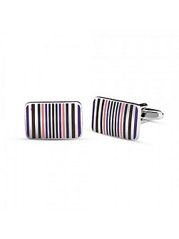 Striped enamel rectangle cufflinks