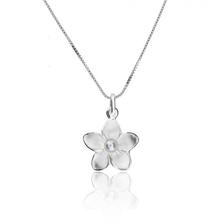 Azendi Silver & pearl frosted flower pendant