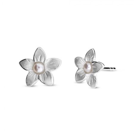Azendi Silver & pearl frosted flower studs