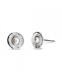 Silver & pearl frosted dish studs